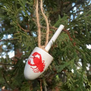 Wooden, Lobster Buoy Ornament with twine.