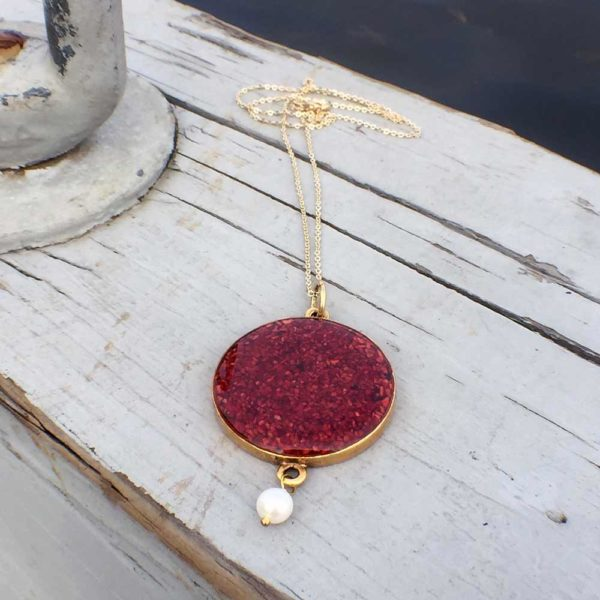 Crushed Lobster Shell Large Gold Pendant With Pearl Necklace