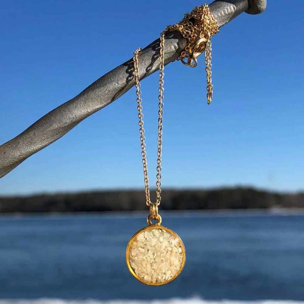 Crushed, Oyster Shell, Gold, Mini, Circle Necklace.