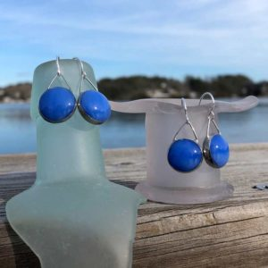 Sky Blue Old Pool Glass Earrings