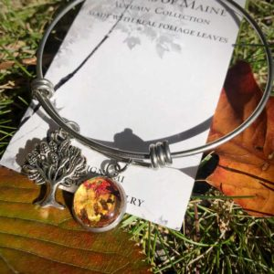 Fall Foliage Bangle Bracelet with Tree of Life Charm