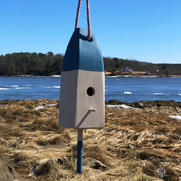 Blue Lobster Buoy Bird House