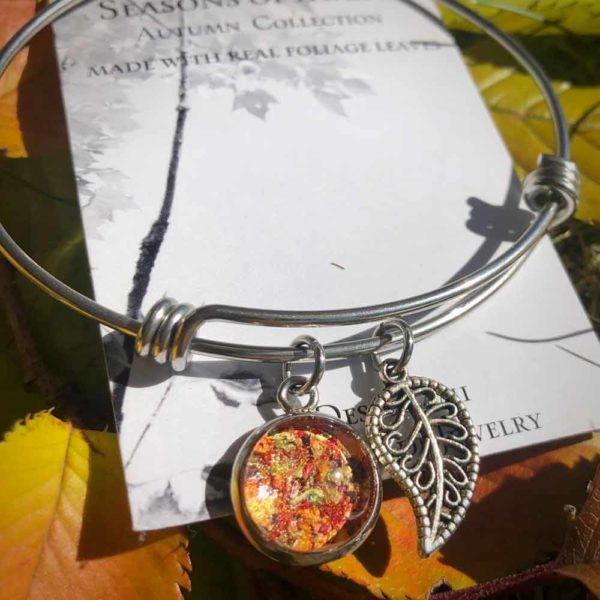 Fall Foliage Bangle Bracelet with Filigree Leaf Charm