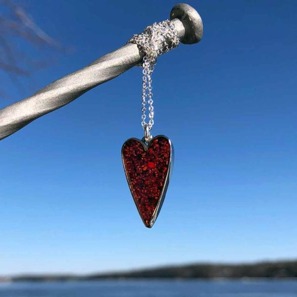 Crushed, Lobster Shell, Small, Silver, Heart Necklace.