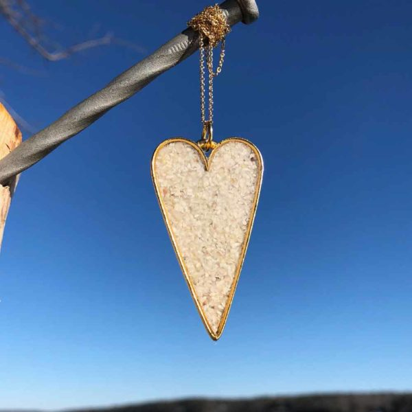 Crushed, Oyster Shell, Gold, Heart Necklace.