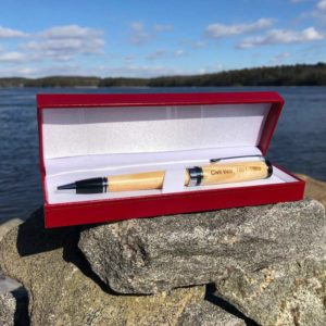 Civil War Pen made from wood in a red, case.
