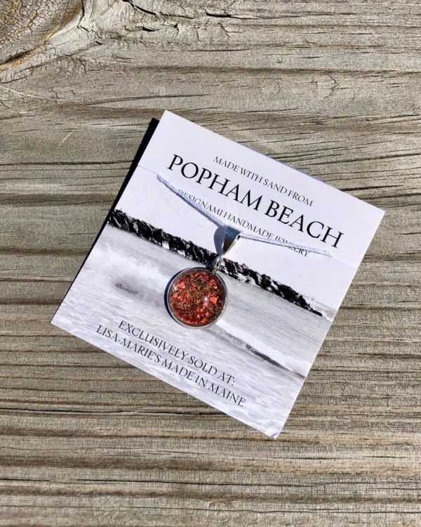 Popham Beach Sand with Lobster Shell Small Pendant, Popham Beach Sand with Lobster Shell Jewelry