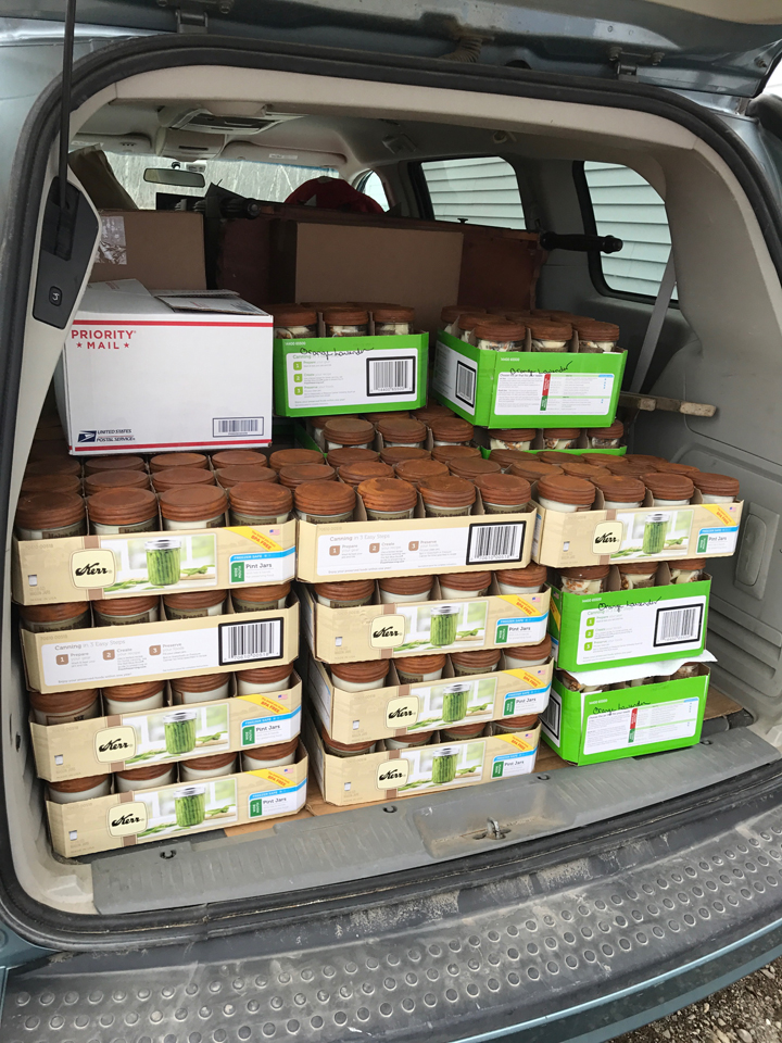 Fully loaded van full of North Country Wind Bells, A&E Stoneworks, and Primitive Keeper Candles
