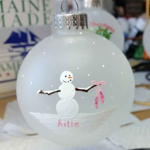 "Beth Doan Maine Artist Custom 2017 Ornament Snowman with Ballet Slippers - ""Ailie"""