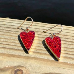 Crushed Lobster Shell Gold Heart Earrings
