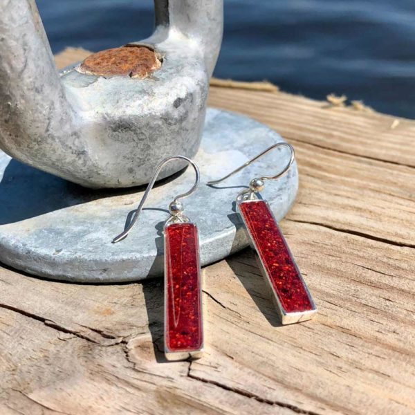 Crushed Lobster Shell Silver Rectangle Earrings