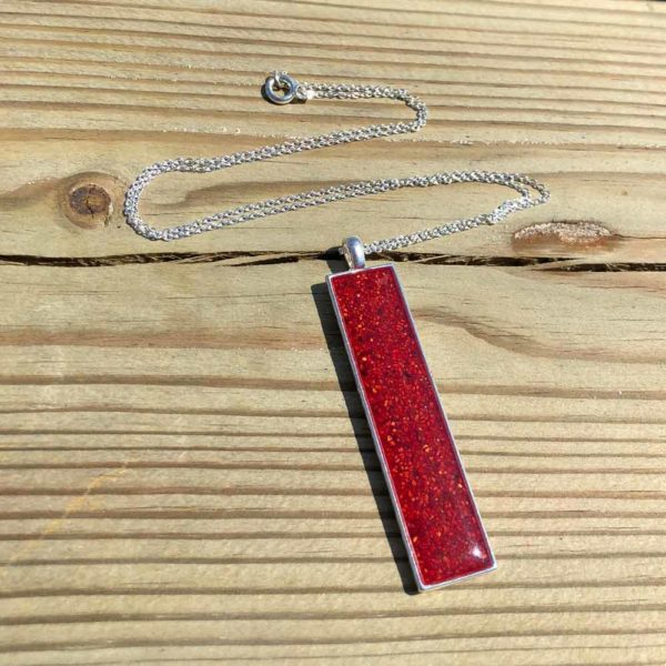 Crushed, Lobster Shell, Sterling Silver, Rectangle Necklace.