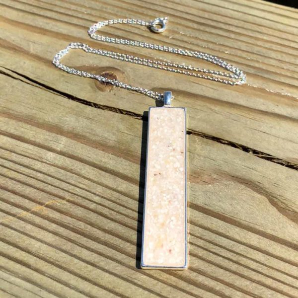 Crushed, Oyster Shell, Sterling Silver, Rectangle Necklace.