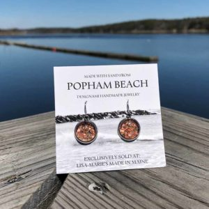 Popham Beach Sand with Crushed Lobster Shell Earrings