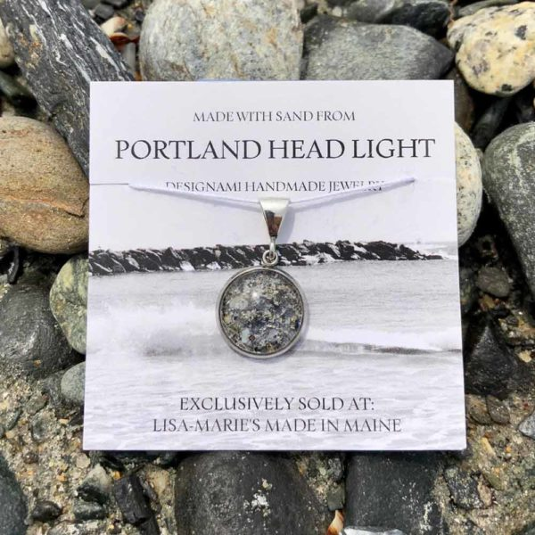 Small Portland Head Light Beach Sand with Crushed Mussel Shell Pendant