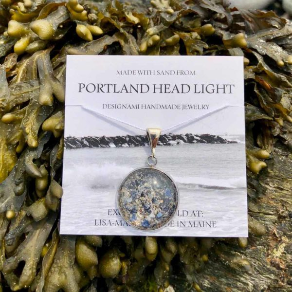 Large Portland Head Light Sand with Crushed Mussel Shell Pendant