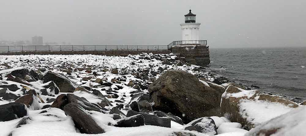Bug Light in South Portland, Maine during a winter storm