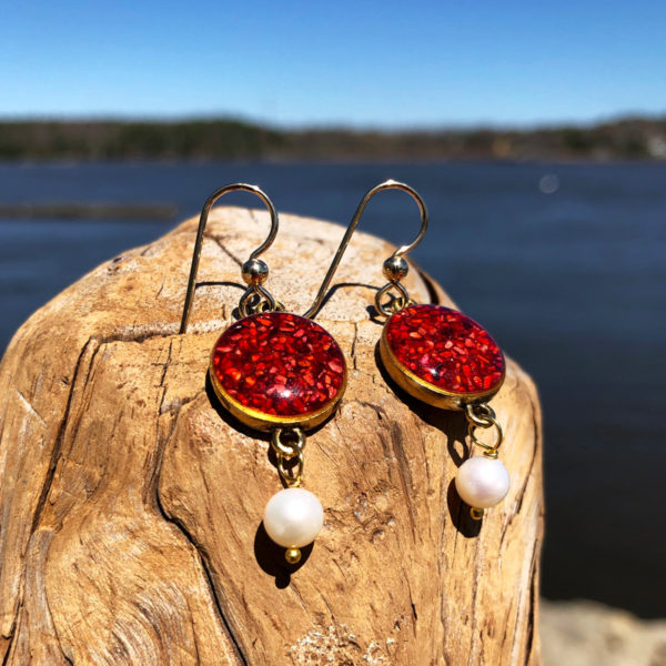 Crushed Lobster Shell Gold Earrings with Pearl