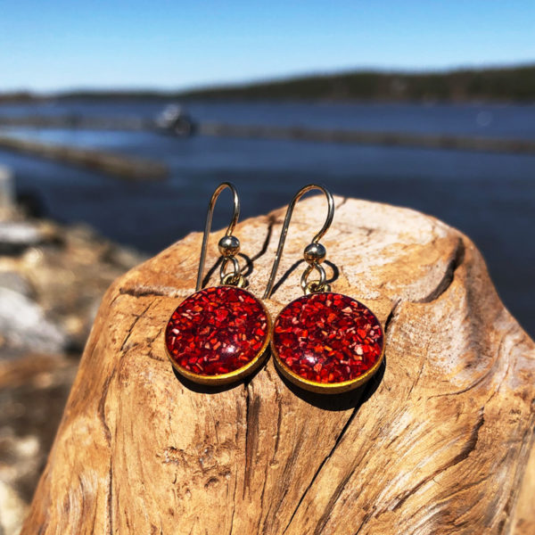 Crushed Lobster Shell Gold Earrings