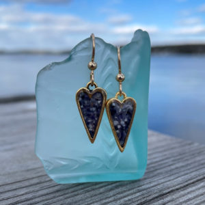 Gold Mussel Shell Heart Earrings