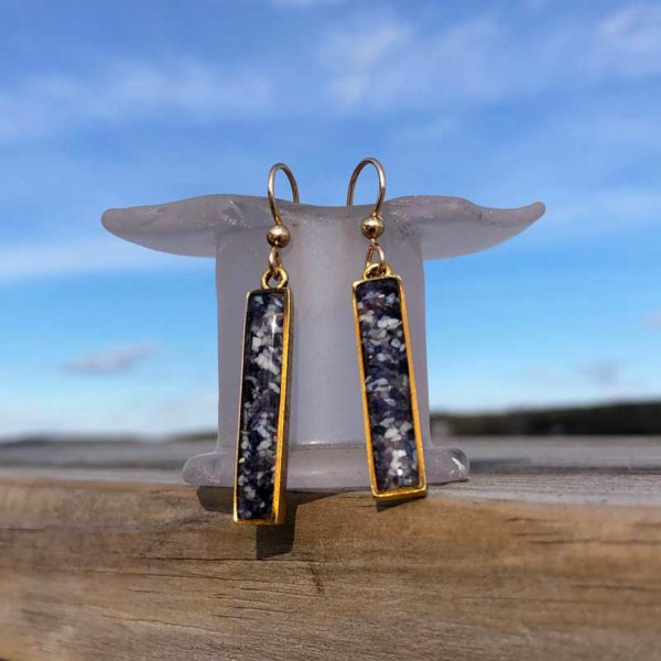 14K Gold Plated Crushed Mussel Shell Rectangle Earrings