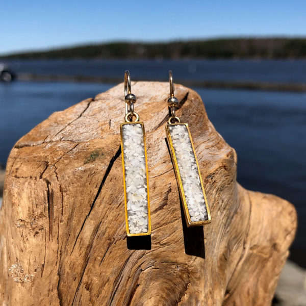 Crushed Oyster Shell Rectangle Earrings