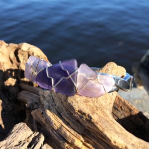Purple Sea Glass Bracelet