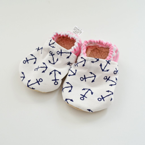 Two Little Beans Booties - Pink Anchors
