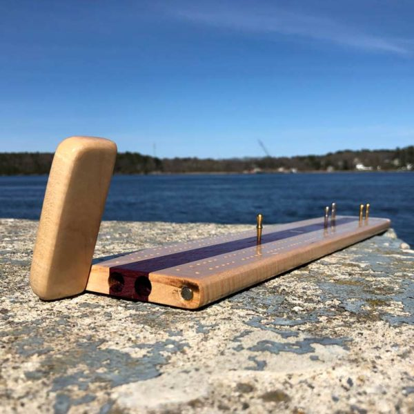 2 Track, Made in Maine ,Long Wooden Cribbage Board with purple wood center.