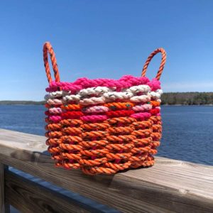 Pink, White, Red & Orange Lobster Rope Basket