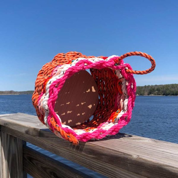 Pink, White, Red & Orange Lobster Rope Basket.