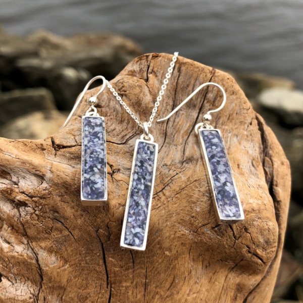 Crushed Mussel Shell Rectangle Jewelry Set - Silver