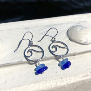 Stacked Sea Glass Wave Earrings - Light Blue & Cobalt Blue