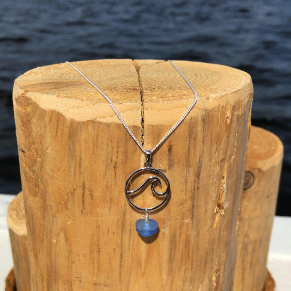 Stacked Sea Glass Wave Necklace - 2 Blues