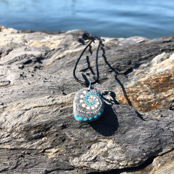 Teal & White Wave Beach Stone Necklace