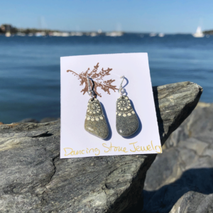 White Wave Beach Stone Earrings