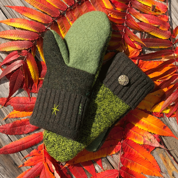 Garden Green Sweater Mittens