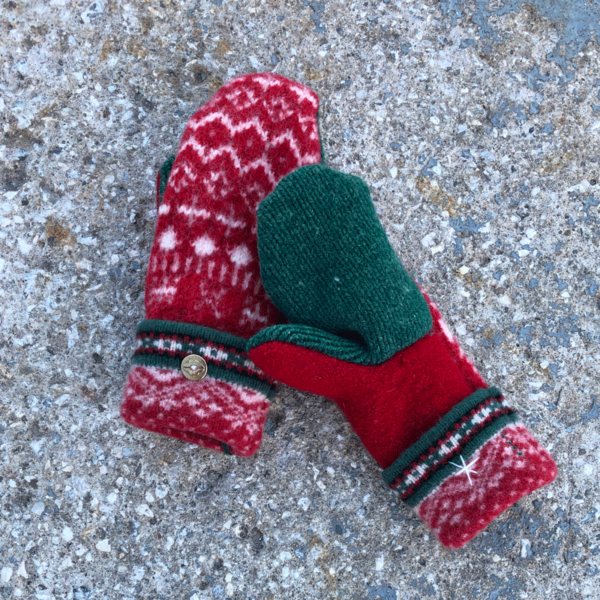 Red, White & Green Sweater Mittens