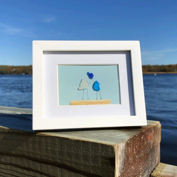 Sea Glass Frame - Couple with Heart