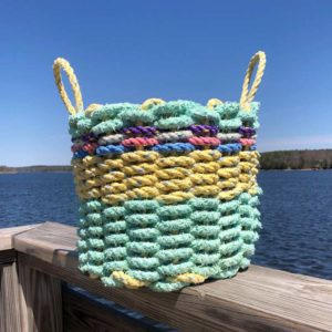 Sea Foam & Yellow Lobster Rope Basket