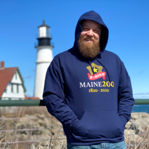 Navy Blue, Maine Bicentennial Sweatshirt with Dirigo Logo.