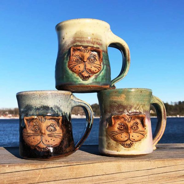 Cat Mugs by Westport Island Pottery