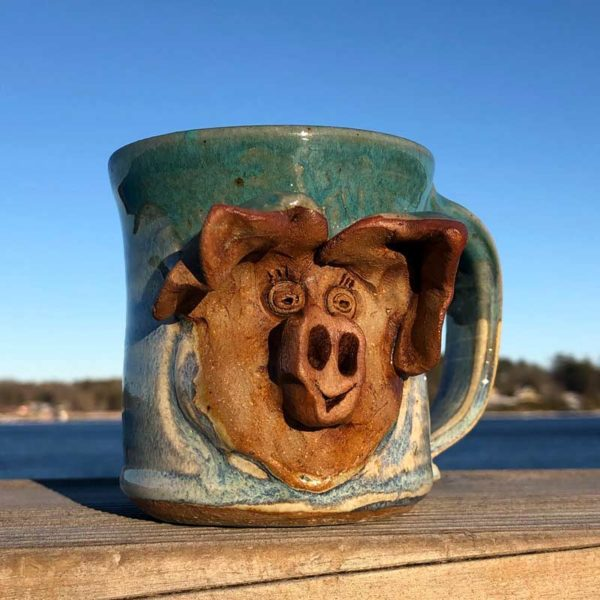 Pig Mug 2 by Westport Island Pottery