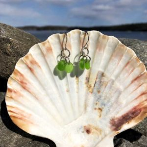 Double Green Sea Glass Earrings