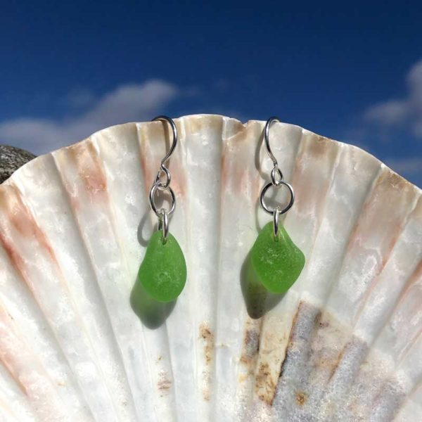Single Green Sea Glass Earrings