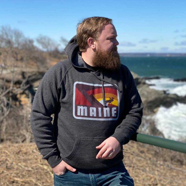 Grey, Moose & Mountains Maine Hoodie.