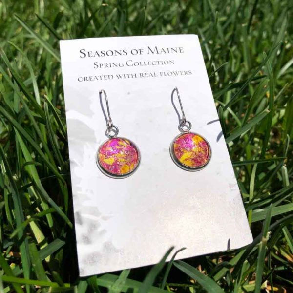 Sunflower & Peony Flower Petal Earrings