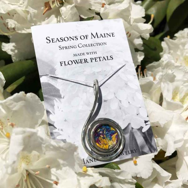 Maine Flower Petal Mix Swirl Pendant