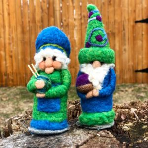 Mister & Miss Teal & Green Gnomes