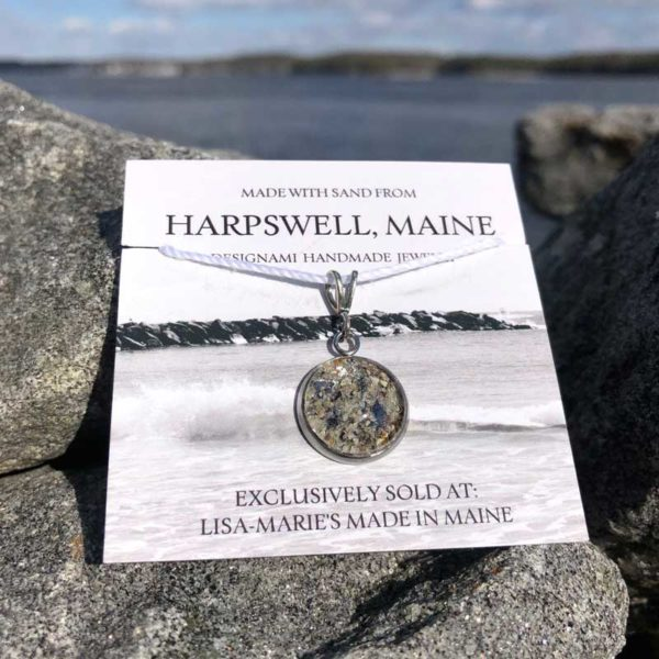 Small Harpswell Sand Pendant with Crushed Mussel Shell